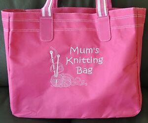 Personalised Knitting Craft Storage Bag Pink & White - Wool Needles Design