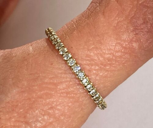 14k Solid Yellow Gold Diamond Half Eternity Band Stackable Ring Wedding Band