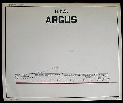 1936 ENGINEERING MILITARY SCALED DRAWING HMS ARGUS NAVY AIRCRAFT CARRIER SIGNED