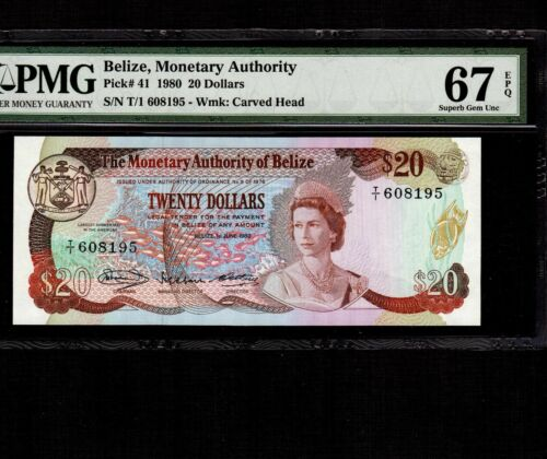 Belize 20 Dollars 1980 P-41 * PMG Superb Gem Unc 67 EPQ * Queen Elizabeth *