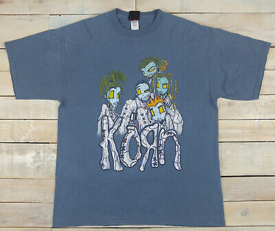 Vintage 1999 Official Giant KORN Issues Album Promo Graphic Blue T-Shirt Size XL