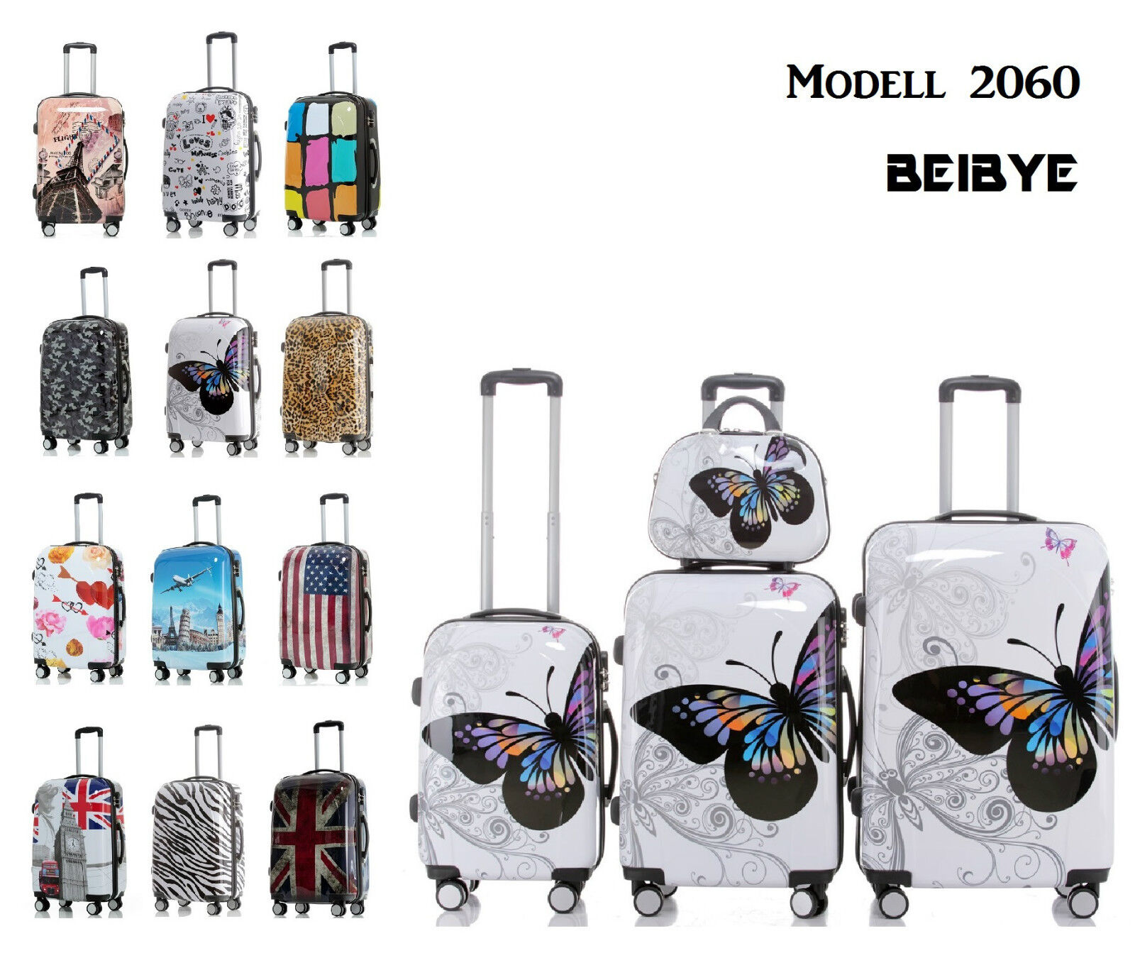 Hartschale 2060 Kofferset Koffer Trolley Reisekoffer SET--XL-L--M-- Beautycase