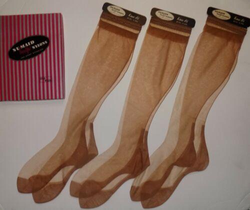 Vtg Knee High Seamed Stockings Nu-Maid Flat Knit 3 pairs  sz. 9