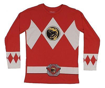 Power Rangers I Am Red Ranger Costume Licensed Long Sleeve Adult Shirt - Adult Power Ranger Costume
