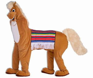 Deluxe-2-TWO-Man-HORSE-PLUSH-FURRY-Adult-STANDARD-SIZE-Mascot-Suit-Costume