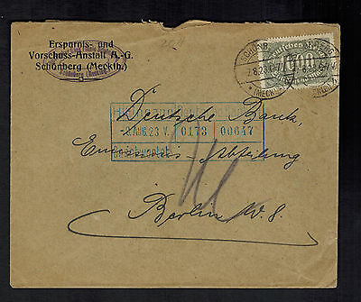 1923 Schonburg Germany Inflation Deutsche Bank Cover To Berlin