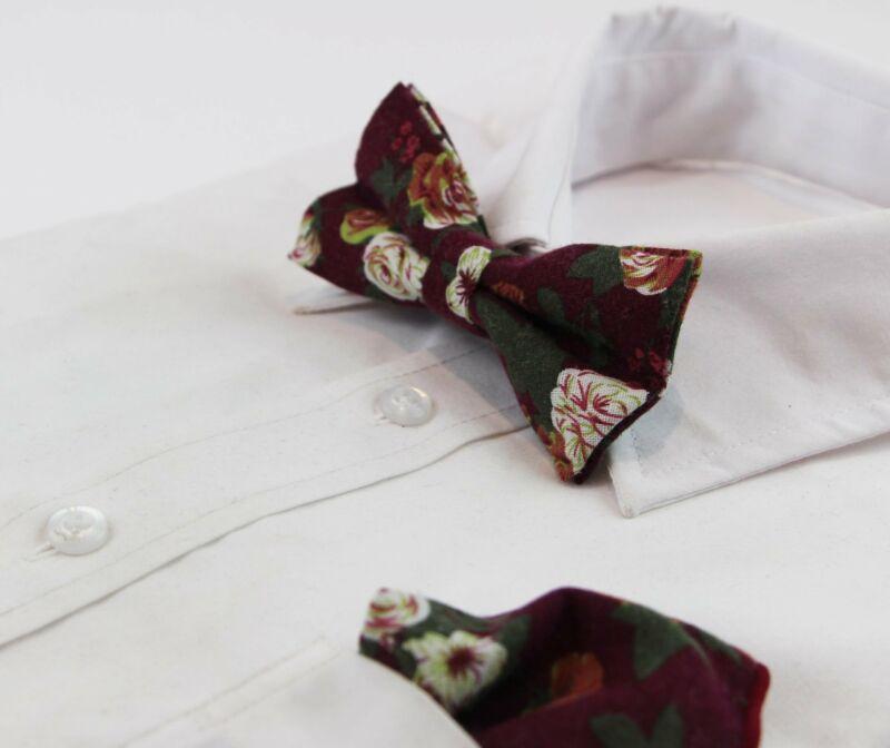Mens Burgundy & Maroon Roses Cotton Bow Tie & Pocket Square Set