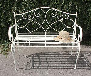 Garden Bench 2 Seater Metal Cream Powder Coated Patio Conservatory Furniture Ebay