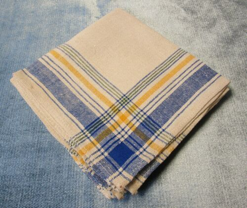 Antique 4 Linen Napkins Blue Yellow Green Black Plaid Never Used Farmhouse Chic!