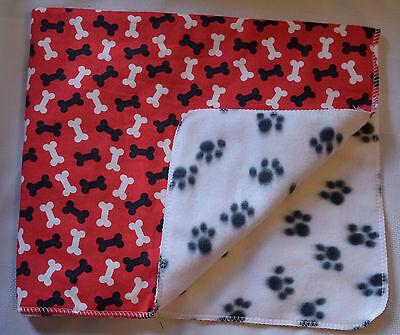 "DOG CAT SMALL PET FLANNEL/FLEECE BLANKET-DOG BONES/PAWS 21X26"" EVER SO CUTE! #88"
