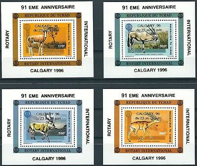 Tschad - Rotary International Calgary 4 Blöcke postfrisch 1998 Mi. 1452-1455