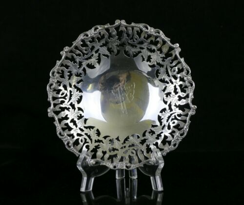 """Vintage Egypt 900 Silver Reticulated Footed Bowl / Plate. 6 1/8"""", 149g"""