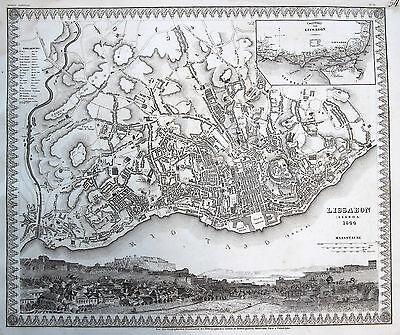 Meyer: Original Stahlstich Stadtplan Lissabon Lisboa Portugal Stadtansicht; 1844