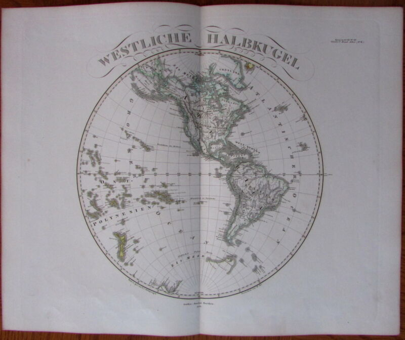 Western Hemisphere Americas, NZ, & Poles - 1866 Hand Color Old Stieler World Map