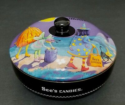See's Candy Halloween Covered Candy Dish - Witch Jack-o-Lantern Black Cat Fairy - Black Cat Halloween Candy