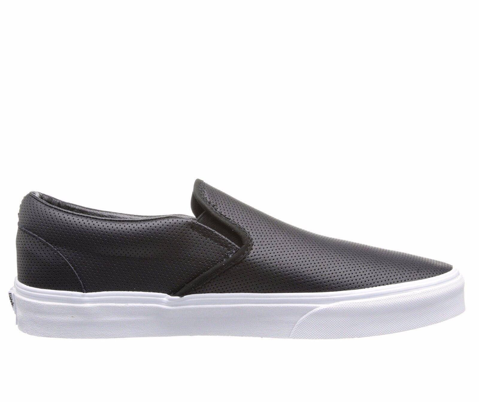 Men S Vans Classic Slip On Black Perf Leather Fashion