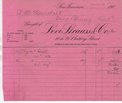 1901 Levi Strauss & Co Billhead sent from San Francisco CA to Fort Bragg