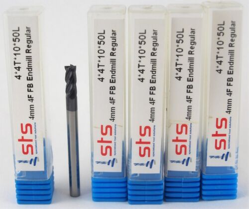 5 pcs - 4mm Carbide Endmill 4 Flute Flat Bottom Regular TiAlN