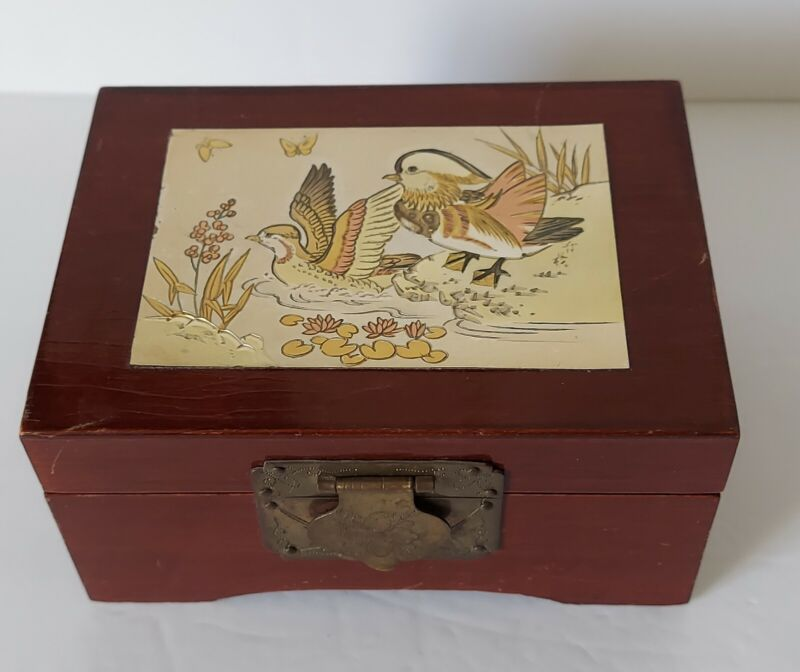 Chokin Art Collection Vintage Jewelry Trinket Box Gilded Gold / Silver / Copper