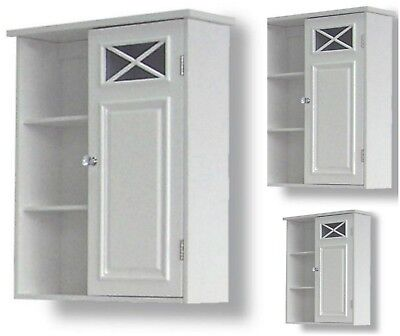 Bathroom Storage Cabinet Wall Mount Cupboard Pantry Wood Kitchen Lavatory White