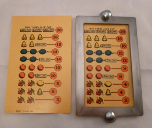 New Mills slot machine paper award cards frame, bolts War Eagle,Castle Front,