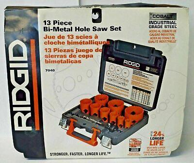 Ridgid 7040 13 Piece Bi-Metal Hole Saw Set Cobalt Industrial Grade Steel USA