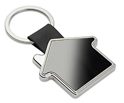 Schlüsselanhänger Haus mit schwarzem metall incl. Gravur