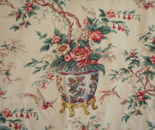 Vintage Chinoiserie Floral Bird Jardiniere Cotton Fabric Curtain~Yellow Red Blu