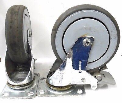 Shepherd 5 X 1 14 Swivel Caster Wheel W Brake Lot Of 2