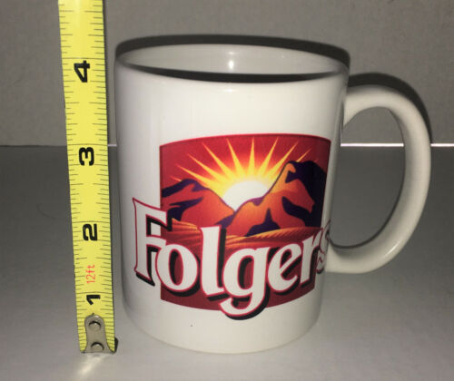 FOLGERS COFFEE MUG Ceramic Eight 8 Ounce The Best Part of Wakin Up Holiday
