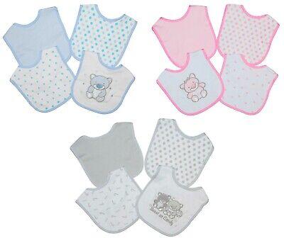 Baby Girl Boy Bibs Feeding Dribble 4 Pack Grey Pink Blue