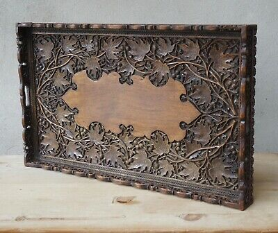 Large Antique Oriental Serving Tray Hand Carved Wood