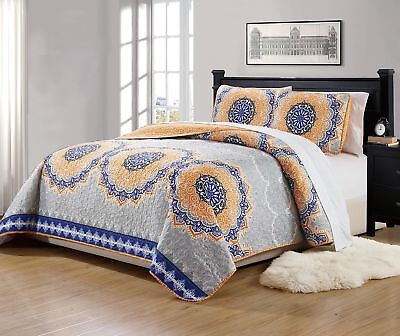 Mk Collection 3pc King/California King Bedspread Quilt Over