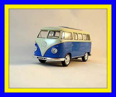 1963 VOLKSWAGEN T1 BUS METALLIC BLUE WELLY 1/32 DIECAST CAR COLLECTOR'S MODEL