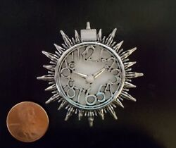 New OOAK Art Deco Mid-Century Modern Sun Burst Wall Clock Dollhouse Miniature
