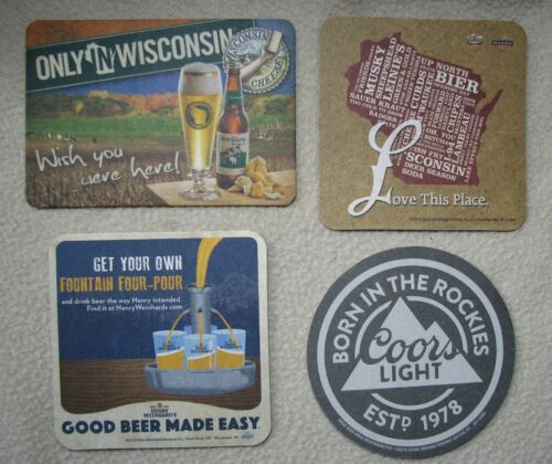 Lot of 4 Beer Coasters Leinie