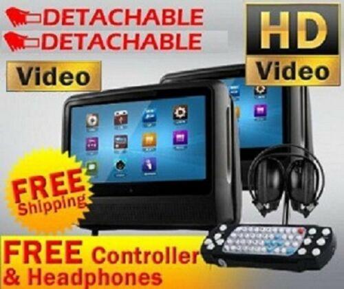 "BLACK PAIR 9"" DIGITAL TOUCH SCREEN HEADREST DVD PLAYER MONITORS *NO HEADPHONES*"