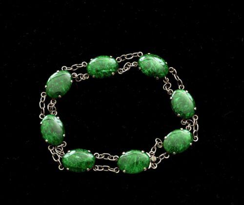 Chinese Silver Green Jade Jadeite Carved Cabochon Bracelet Bangle 18K