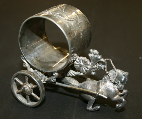 Silver Plated Figural Napkin Ring Bucking Horse Pulls Ring On Wheels Meriden 214
