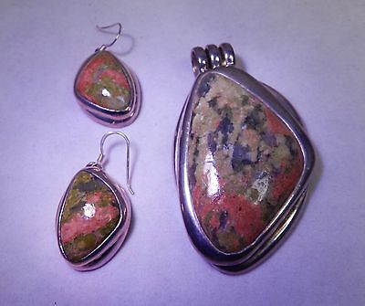 HVY OLD NAVAJO BARSE STERLING  SILVER & UNAKITE PENDANT & EARRINGS.SGND,ESTATE