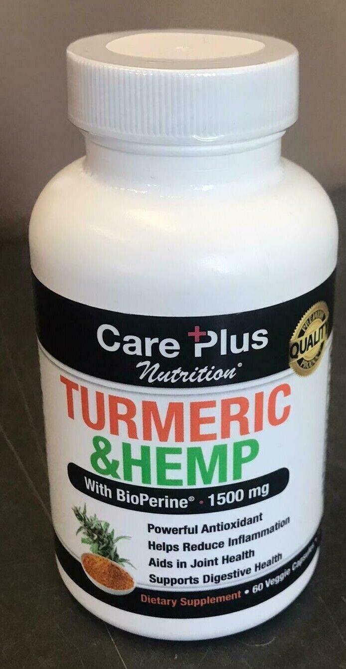 Turmeric & Hemp 1500mg Supplement Antioxidant Inflammation Joint Health Capsule