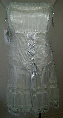 Ladies designer cream lace strapless dress size 12 brand new with tags