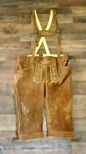"Authentic Leather Suede Mens Lederhosen Brown Size 36 16"" Inseam Oktoberfest"