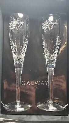 Galway Standard Engraved Flute Bride/Groom Pair, Poland Crystal Wedding Gift Set