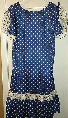 Blue Polka Dot Dress Costume (Womens Costume Dress Blue Polka Dot Lola Hawaii Sz)