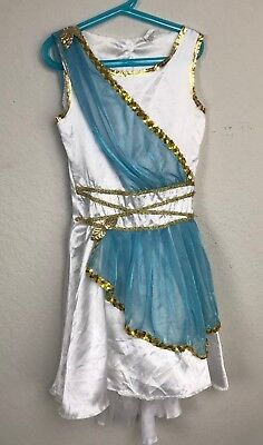 Unbranded Girl Dress Costume Roman Sleeveless Lace White Blue Gold Sz L (10-12)
