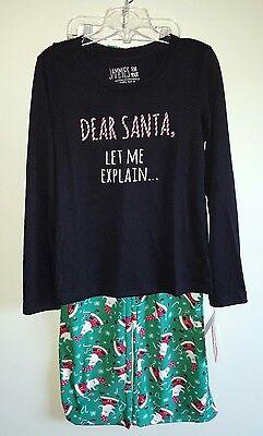 NWT Jammies for Your Families Girls SZ 12 Pajamas CHRISTMAS HOLIDAY Santa #34217