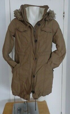 Abercrombie and Fitch Coat Tan Khaki Heavy Long Jacket Hooded Womens Size Large