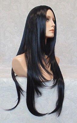 X-Long Silky Straight Layered Jet Black High Heat Ok Full Synthetic Wig -5064 (Jet Black Wig)