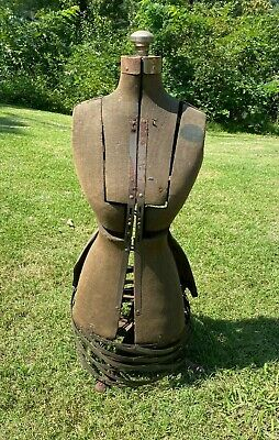 Antique 1950s Metal Adjustable Dress Form Mannequin W Metal Stand